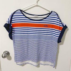 Ellesse Italia Short Sleeve Nautical Striped Cotton Top, Blue/White Medium